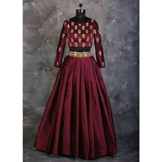 Maroon Silk Embroidered Lehenga
