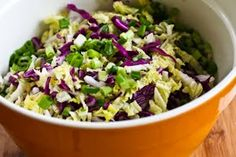 Napa Cabbage and Red Cabbage Salad with Fresh Herbs and Peanuts is a healthy low-carb salad with plenty of crunch and the dressing used here is good on so many other things! Slaw Recipes, Healthy Salad Recipes, Whole Food Recipes, Red Cabbage Coleslaw, Napa Cabbage Recipes, Meat Salad, Vegetarian Cabbage, Fresh Herbs, Peanuts