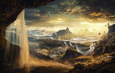 Life into the Valley - Digital Matte Painting Showreel 2015 - CG Gallery - Computer Graphics Forum Fantasy Landscape, Landscape Design, Cg Art, Matte Painting, Fantasy Illustration, Fantasy World, Concept Art, Gallery, Artwork
