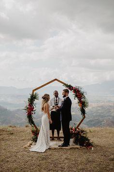Real Weddings – Hello May Diy Wedding Arch Flowers, Wedding Arches, Beach Centerpiece Wedding, Woods Wedding Ceremony, Simple Wedding Arch, Wood Wedding Decorations, Wedding Themes, Wedding Styles, Diy Wedding Arbor