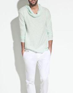DRAPE NECK T-SHIRT - T-shirts - Man - ZARA