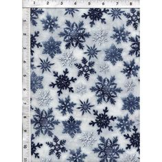 Blue, silver-blue and white snowflakes are scattered across a white background.  www.americasbestthreads.com