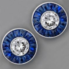 I say these beautiful post earrings  were designed for a UK Wilcats fan. ;-)   Art Deco Sapphire and Diamond Earrings