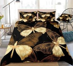 Pretty Flying Butterfly Bedding Set Butterfly Bedding Set, Butterfly Quilt, Bed In A Bag, Quilt Cover, Black House, Home Textile, Duvet Cover Sets, Kids Boys, Bedding Sets