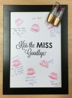 Lipstick Kiss Frame Hen Party Night Do Bachelorette Keepsake Gift For Bride Game Guest Book Kiss The Miss Goodbye - Do lipstick kiss frame hen night Informations About Lippenstift Kiss Frame Henne Party Nacht tun Bac - Bridal Shower Planning, Bridal Shower Party, Bridal Shower Decorations, Wedding Planning, Budget Wedding, Wedding Ideas, Bridal Shower Gifts For Bride, Bridal Shower Quotes, Bridal Shower Prizes