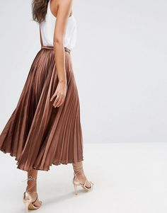 Image 2 of ASOS TALL Midi Skirt in Pleated Satin