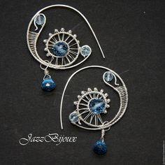 Серьги ручной работы. Ярмарка Мастеров - ручная работа. Купить Серебряные серьги-кольца с голубой шпинелью и топазом. Handmade.