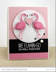 Tickled Pink, Myriad Dot Background, Cross-Stitch Circle STAX Die-namics, Flamingo Die-namics - Jodi Collins  #mftstamps