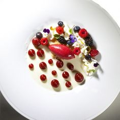 Sheep's yogurt Panna Cotta, Lime whip Cremeux, Berriwa Sorbet? raspberry fluid gel , Berries for my new book Bachour Simply Beautiful #theartofplating #chefstalk | by Pastry Chef Antonio Bachour
