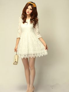 Half Sleeve Crochet Lace Short Dress from order2offer on Storenvy