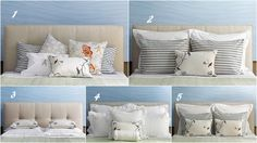 pillow arrangements for the bed!