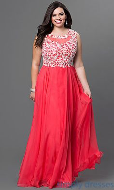 9eb8ef7a931 Plus Size Lace Embellished Bodice Floor Length Gown