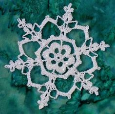 Irish Snowflake  By: Deborah Atkinson for Snowcatcher           This pattern is referred to as the Irish snowflake because the largest chain spaces look like the shape of a heart. Your Irish friends and family would love this one. Snowflake crochet patterns are great when they look like this.