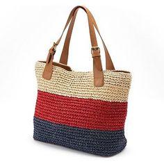 Croft & Barrow® Striped Straw Crochet Tote - My Bag Ideas Crochet Tote, Crochet Handbags, Crochet Purses, Style Marin, Bag Women, Bag Pattern Free, Striped Bags, Market Bag, Knitting Accessories