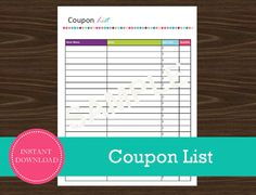 Coupon List  Shopping Planner  INSTANT PDF by RoadTripBlogger Road Trip Planner, Travel Planner, Printable Planner, Free Printables, Black Friday Shopping, Be Yourself Quotes, Planners, Coupons, Pdf