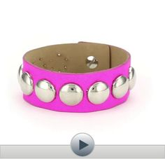 Streets Ahead Silver Dome Studs with Pink Neon Cuff Bracelet