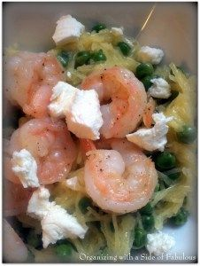 Creamy Spaghetti Squash with Shrimp, Peas and Goat Cheese - Organizing with a Side of Fabulous blog