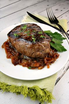 Filet Mignon with Marsala Caramelized Onions - recipe at RecipeGirl.com