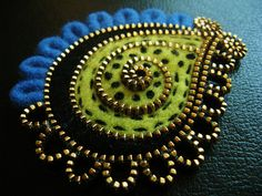Paisley zipper and felt brooch by woolly  fabulous, via Flickr