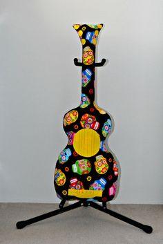 Black Sugar Skulls Classic Guitar Pillow Guitar by VoxandDolly