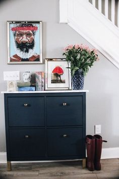 House to Home DIY on a Dime: Glamming my Ikea Hemnes Shoe Cabinet — Randolph and Roses Kitchen Clock Ikea Hemnes Shoe Cabinet, Shoe Cabinet Entryway, Hemnes Ikea Hack, Hallway Sideboard, Shoe Cabinet Design, Ikea Hacks, Ikea Shoe Storage, Billy Ikea, Hall