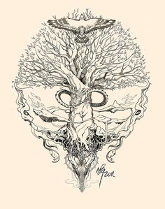 Yggdrasil Tattoo   Yggdrasil, Uroboros by sunshiver