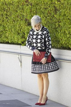 Graphic black and white with a pop of red.  From Style at a certain age.