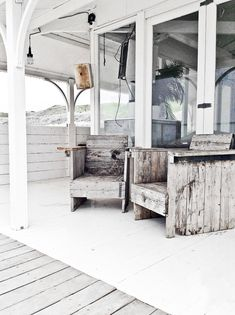 Beach porch — weathered and white-washed, with beach grey.