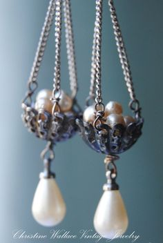 Pearl Bird Nest Rhinestone Earrings by Christine Wallace Vintage Jewelry - I am so in love with her work!
