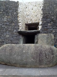 Once a year, at the winter solstice (around December 21 or 22), the rising sun shines directly along the long passage of this megalithic tomb, illuminating the inner chamber and revealing the carvings inside. The most impressive of these is the triple spiral on the front wall of the chamber. The spiral is also a prominent feature of the entrance stone. The Newgrange Passage Grave in Meath, Ireland was built around 3200 BCE.
