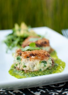 Crab Cakes with Chimichurri. Crab Cakes with Chimichurri Dressed Pea Sprouts & Avocado :: How the Argentinian sauce goes beyond steak. Avocado Recipes, Fish Recipes, Seafood Recipes, Appetizer Recipes, Great Recipes, Cooking Recipes, Favorite Recipes, Healthy Recipes, Appetizers