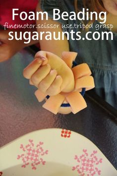 #finemotor play with large foam beads you can find at the Dollar Store.   By #TheSugarAunts