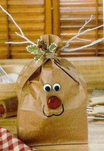 Brown Bag Rudolf Treat Bag~Packaging made of paper bag, dry branches, a branch of holly, two little eyes and a cap for the nose. This is what is recycling!