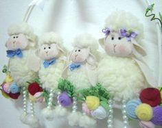 Família De Ovelhas - Enfeite De Porta