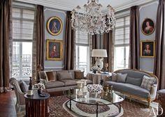 Bessarabian rug. Traditional Living Room by Jean-Louis Deniot in Paris, France