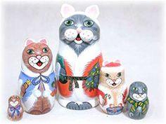 Christmas Cats Matrushka Nesting Doll Set of 5