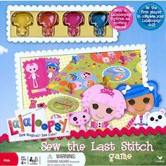 Lalaloopsy Sew the Last Stitch Game: Lalaloopsy Sew Magical! Sew The Last Stitch Board Game. Includes gameboard, 4 Lalaloopsy moving pieces, 4 doll boards, 16 clothing pieces, spinner and instructions. Toys For Less, Stitch Games, Cartoon Toys, Fandoms, Last Stitch, Games For Toddlers, Game 4, Lalaloopsy, Toy Boxes