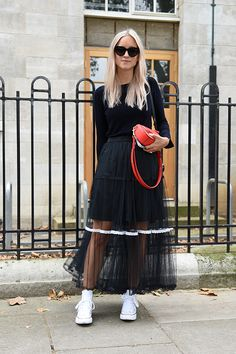 Charlotte Goreneveld at London Fashion Week sporting Converse sneakers with a tulle skirt, their casual air takes on a tomboyish tone.