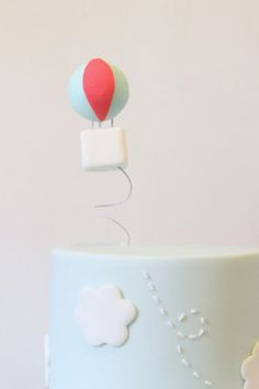 up in the air hot air balloon first birthday party cake