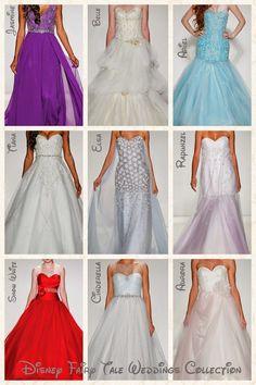 2015 Disney Fairy Tale Weddings bridal collection by Alfred Angelo. Disney Princess inspired wedding dresses for Jasmine, Belle, Elsa, Ariel, Tiana, Cinderella, Rapunzel, Snow White, and Aurora.
