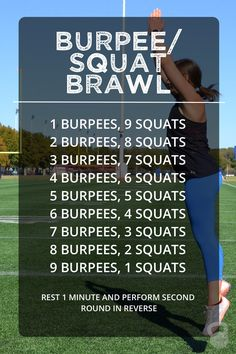 The burpee/squat brawl workout is simple, quick, and quite the butt kicker! This workout is great to do from home or while traveling as it requires NO equipment!