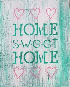 """Home Sweet Home Distressed Crackle 8x10 Canvas Painting. """"HOME SWEET HOME"""" This 8x10 canvas sign adds a rustic touch to the phrase """"Home Sweet Home"""". The White crackle over Light Mint Green is a refreshing combination of colors. The saying is painted in Bubblegum Pink and comes ready to hang with a plaid country green ribbon. Colors may vary due to differences in computer screen settings. * Love the quote but not the color? That's no problem! If you see another color or finish on a…"""
