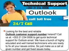 We are Provide Outlook Technical Support number 21 234 0006 Ireland to get solved all your Outlook related issues. Account Recovery, Spam, Customer Service, Ireland, How To Get, Number, Education, Phone, Youtube