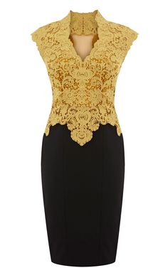 Karen Millen Beautiful Cotton Lace Pencil Dress Yellow_Black - Karen Millen - $91.60