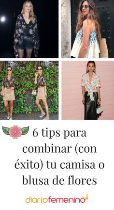 Ideas de looks para llevar tu camisa con estampado de flores y no desentonar 🌸 🌼  #looks #outfits #moda #camisas #blusas #style #DiarioFemenino Sequin Skirt, Sequins, Skirts, Outfits, Ideas, Fashion, Printed Shirts, Blouses, Flower Shirt