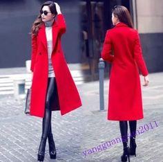Fashion Womens Wool Blens Coat Parka Outwear Slim Fit Button Winter Lapel Sz