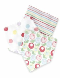 3 Pack Pure Cotton Floral & Spotted Dribble Bibs-Marks & Spencer
