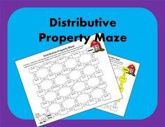 Distributive Property Maze: My students always love mazes! They're like worksheets in disguise! Math 8, Math Tutor, Basic Math, Free Math, Math Skills, Math Teacher, Elementary Teacher, Math Lessons, Math Education