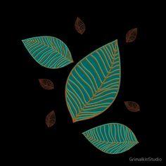 Falling Leaves Pattern - by Grimalkin Studio / Kandy Hurley  #homedecor  #shopping #art @grimalkinart