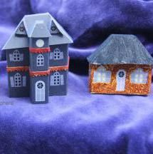 Make tiny Gothic Halloween glitter houses with mansard roofs and towers using these free printables.